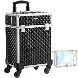 SONGMICS Kosmetikkoffer, Trolley, Make-up Koffer, Schminkkoffer, mit Griff, mit 4 Universalrollen, mit 4 ausziehbaren Fächern, für Reisen, schwarz JHZ013B01*