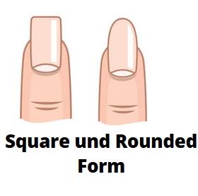 Square und Rounded Gelnägel